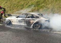 Pożar BMW na S7
