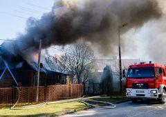 Pożar domu jednorodzinnego przy ulicy Sokolej